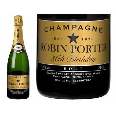 Birthday Black Personalised Champagne